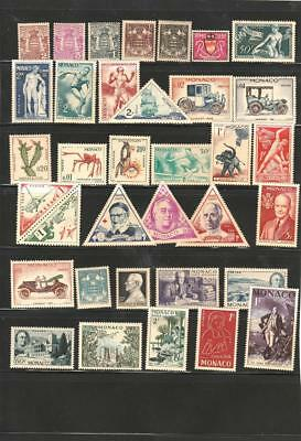 Monaco Collection 1920-1960 on 2  pages, 52 different stamps  Unused and MNH