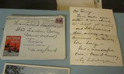 1932 Victoria Hotel Amsterdam Netherlands Vacation Letter and Envelope Travel
