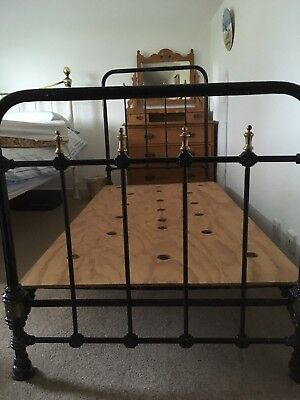 Genuine Victorian Cast Iron And Brass Single Bedframe. Collection In Person