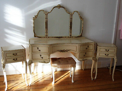 Large French Louis Xiv Style Antique Dressing Table Mirrors Side