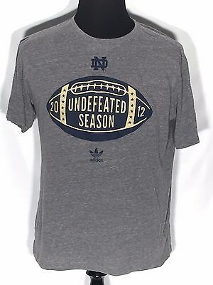 Notre Dame Football 2012 Undefeated Season NCAA College Adidas Large L T-shirt