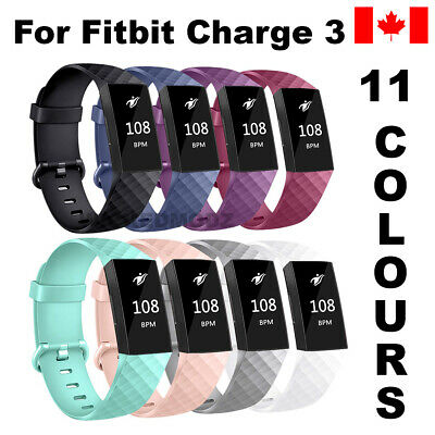 For Fitbit Charge 3 Band Replacement Wrist Strap Silicone Smart Watch Band S & L