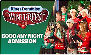 1 Cedar Fair Kings Dominion WinterFest 1-Day Park Admission Ticket, Doswell, VA