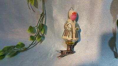 Vintage glass Christmas tree ornament USSR Glass girl on clip