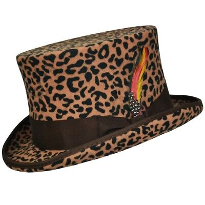 Leopard 100% Wool Satin Lined Wedding Event Felt Top Hat With Feather