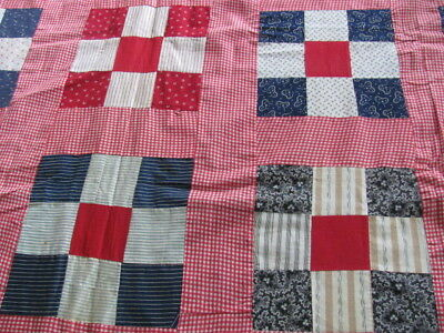 Early 1900's Nine Patch hand stitched quilt top never laundered