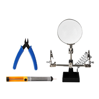 3 in 1 Repair Tool Set Helping Hands Magnifying Glass Pump Pro Soldering Tools