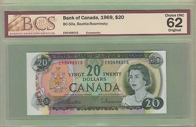1969 Bank of Canada $20 Dollar Note - ER0498515 - BCS Graded ChUnc 62