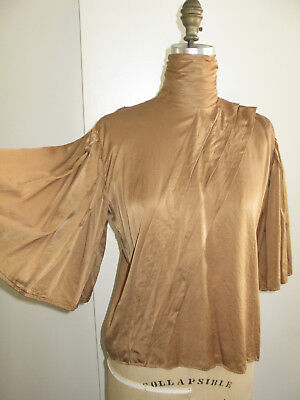 Vintage Gold Blouse With Pearl Buttons + Wide Sleeves Asymmetric Pleating