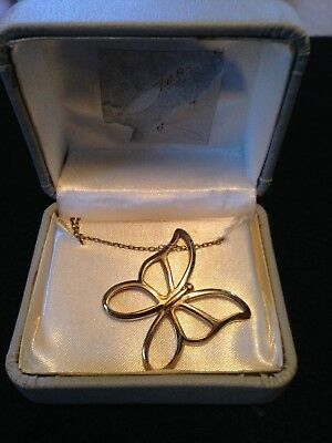 """24k Gold Over 925 Sterling Silver Butterfly Neckace Pendant 18"""" new w/ gift box"""