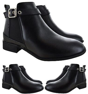 Ladies Womens Flat Ankle Buckle Low Heel Chelsea Black Work School Casual Boots