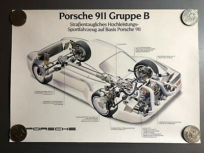 """1985 Porsche 959 """"Gruppe B"""" Showroom Advertising Poster, German RARE!! Awesome"""