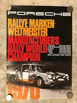 1970 Porsche 911 Manufacturers Rally Victory Showroom Advertising Poster Reprint