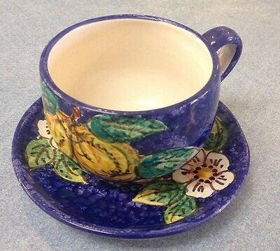 Vietri pottery-Blue Lemon Cup And Saucer.Made painted by hand in Italy