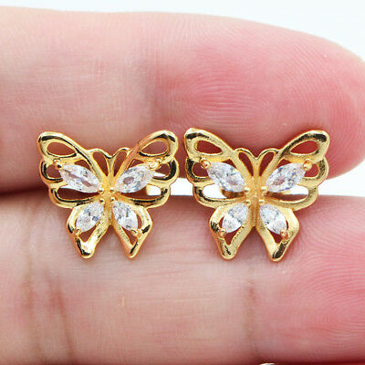 18K Yellow Gold Filled Butterfly Women Girls Crystal Topaz Zircon Stud Earrings