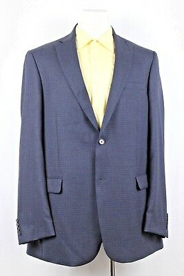 Austin Reed Men's Dark Gray Windowpane Wool Blazer Sport Coat Jacket Size 44 XL