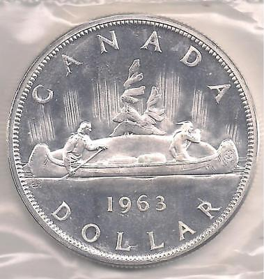 Canada 1963 PL Silver Dollar. First Strike, Grade Condition. { 80 % Silver.}
