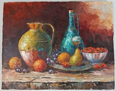 Unframed 16x20 Still Life Vintage Mid Century Fruit Pitcher Oranges Old World