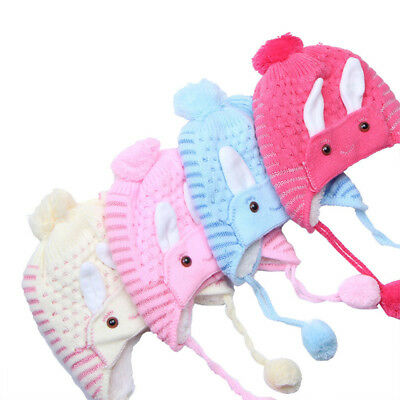 Baby Rabbit Ear Knitted Hat Infant Toddler Winter Warm Hat Beanies Cap G