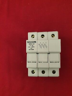 MSC10 Ferraz Shawmut 3 Pole  Fuse Holder DIN Rail 10 x 38 Fuses