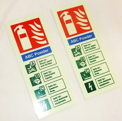 2 x ABC Fire Extinguisher Signs 8 W x 20 H cms - Quality Hard Photo-luminescent
