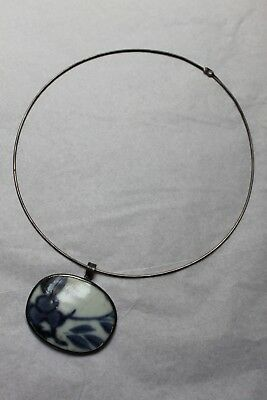 Ancient Chinese Pottery/ Shard Pendant Sterling Silver Ring/ Collar Necklace