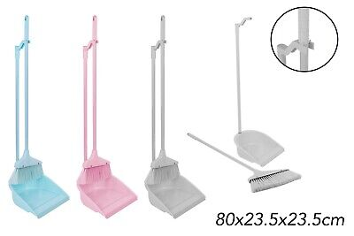 Long Handle Dustpan and Brush 2 Piece Set for Sweeping Cleaning 4 Colours
