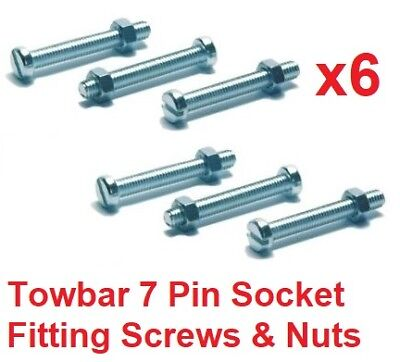 Towbar 7 Pin Socket Mounting Fixing Screws/Bolts & Nuts Trailer Towing M5 x 35mm