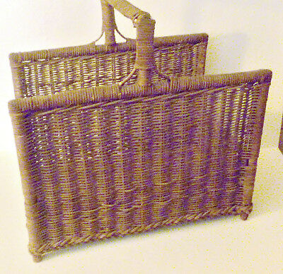 Large Antique Wicker Wood/Log Carrier Basket