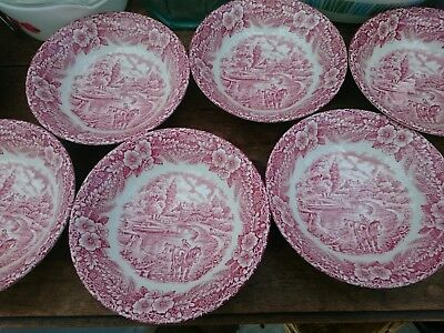 Broadhurst The Constable Series Pink Red SET OF 6 CEREAL BOWLS Excellent Cond