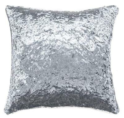 """Luxury Large 24"""" Velvet Thick Crushed Soft Silver Grey Cushion Cover £10.99 Each"""