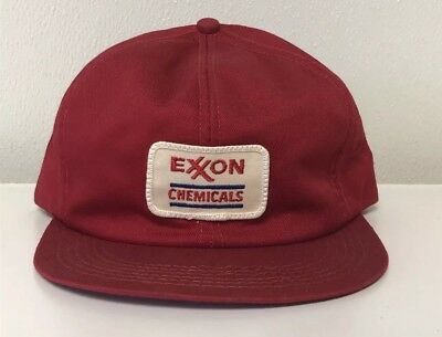 VINTAGE 1980s EXXON CHEMICALS K BRAND PATCH USA MADE RED MEN'S TRUCKER HAT!