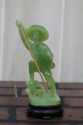 Green Jade Color Asian Fisherman Figure with Fishing Pole