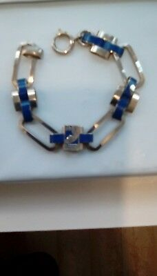 RARE VTG CHICAGO WORLDS FAIR 1933 Blue and Stainless BRACELET