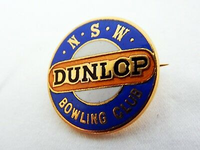 Vintage Retro Australian Dunlop NSW N.S.W Bowling Club Enamel Badge Pin