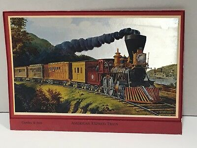 Vintage Currier and Ives American Express Train Color Foil Etch Print