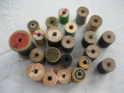 22 Vintage Wood Spools Silk Thread - Mostly Clarks and Eureka - LotD