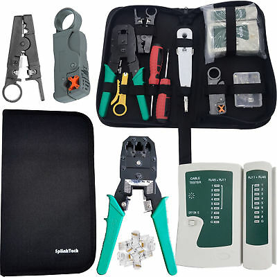 RJ45 Ethernet Cable Crimping Crimper Network Tester Punch Down Impact Tool Kit