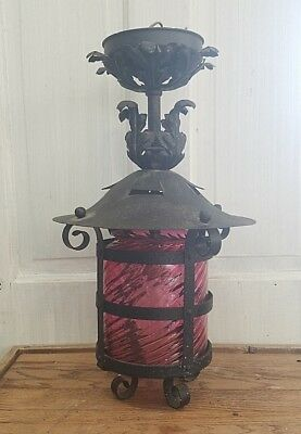 Antique Arts Crafts Cranberry Glass Porch Light, Tudor Style Light