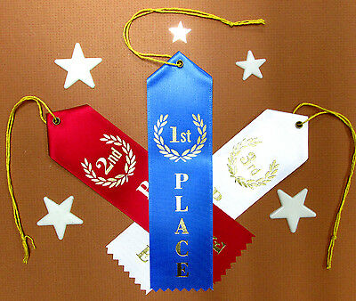 Lot 1st, 2nd & 3rd PLACE Award BEST QUALITY Ribbons w/Card+String 2x8 FAST SHIP
