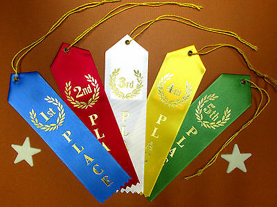 1st 2nd 3rd 4th 5th PLACE Award - QUALITY- Ribbons w/Card & String 2x8 FAST SHIP