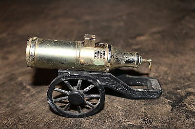 Vintage Brass ? Cigarette Lighter Cannon on Wheels Novelty Tobacco Accessory
