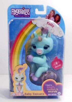 target Exclusive- Electronic & Interactive Wow Wee Fingerlings Baby Unicorn •molly• Light Teal Color