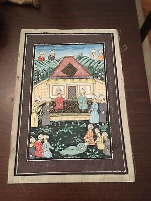 Antique Very Rare Japanese Painting On Silk Depicting Ancestral Funeral Scene