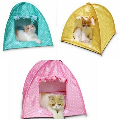 New Foldable Pet Kennel Polka Dots Tent Cat Dog Bed Puppy Kitten Play House