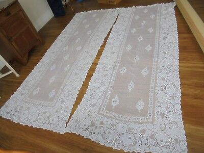 Pair vintage cotton lace curtains - postage available.