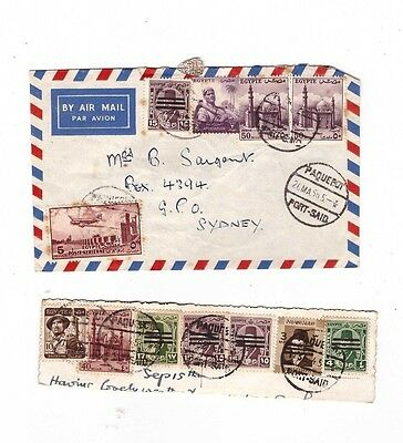 EGYPT 1956 PAQUEBOT Airmail Cover to AUSTRALIA   ( 2 items )