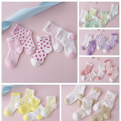 5 Pairs NewBorn Soft Socks Baby Colored Cotton Socks Candy Infant Toddler Kids