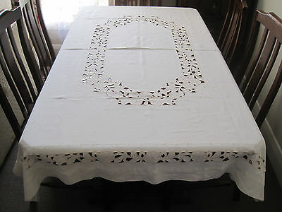 Beautiful Pure Linen Rectangular Tablecloth With Hand Worked Cutwork Embroidery