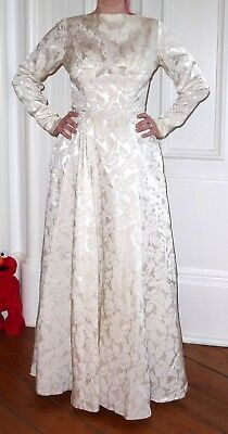 Vintage 50s Ivory Brocade Full Length Wedding Dress Suit UK 8 Small